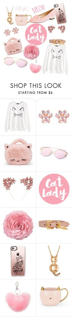 """Crazy Cat Lady #1 - Pink"" by piscesrisingdesign ❤ liked on Polyvore featuring Forever 21, Saro, Miu Miu, Casetify, Allurez, Charlotte Olympia and Pink"