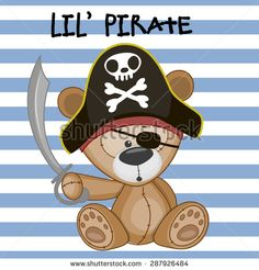 Cute cartoon Teddy Bear in a pirate hat