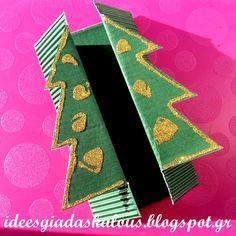 Ιδεες για δασκαλους: Χριστουγεννιάτικες καρτούλες με πατρόν! Christmas Crafts, Christmas Decorations, Xmas, Alphabet Worksheets, Make Your Own, Projects To Try, Gift Wrapping, Cards, School Stuff