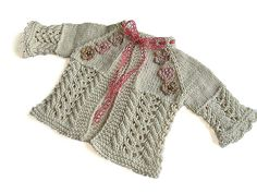 Knitted baby girls jacket  knit baby summer cardigan by MiaPiccina, $36.00