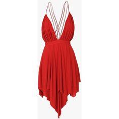 Balmain Draped viscose backless mini dress ($1,055) ❤ liked on Polyvore featuring dresses, balmain, short dresses, vestido, sleeveless dress, mini dress, short summer dresses, backless summer dresses and red dress