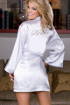 """Victoria's Secret Bridal Collection robe. Perfect for getting ready - cute picture idea, get colored ones with """"bridesmaid"""" on the back and all pose like this!  Love!"""