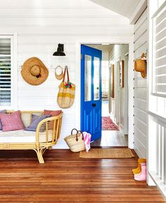 The renovation of this classic white weatherboard cottage in Byron Bay has resulted in a modern family home inspired by its coastal location and the owner's love of eclectic, colourful decor. See inside! Coastal Cottage, Coastal Homes, Coastal Decor, Coastal Living, Latest House Designs, New Home Designs, Cottage Renovation, Home Renovation, Ikea Storage Boxes