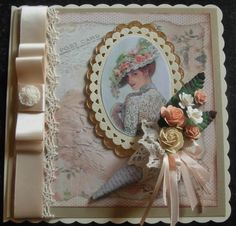 Vintage lady on die-cut oval panels, with a vintage cone handmade bouquet, and a classic Dior Bow 21 Cards, Your Cards, Easy Cards, Vintage Cards, Vintage Postcards, Girl Birthday Cards, Dress Card, Mothers Day Cards, Graphic 45
