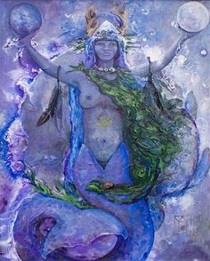 Yemanya is the Goddess of the oceans and the moon. Earth mother of the oceans bless the waters in her womb. Star Dolphin… Mermaiden sings… Water Goddess swims in the Divine Healing Love and Light she brings words & art by Cher Lyn