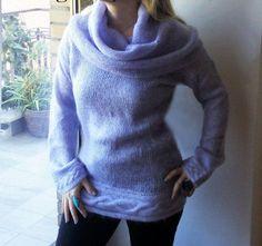 Long sweater with long neck Mauve sweater Knitted Fashion big neck sweater  Maglia lunga Mohair Maglione moda collo grande a cappuccio 6a0f579d66b7