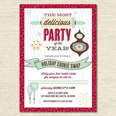 Holiday Cookie Exchange Christmas Party  CUSTOM PRINTABLE by HWTM, $16.50