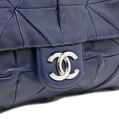 43ae593a0edf Chanel Navy Quilted Lambskin Soft Squares Origami Flap Bag