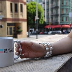 Coffee & the view. Janice Real Pearl Bracelet #handcrafted . . #SanFrancisco #bracelet #armparty #sf #friendshipbracelets #repost #love #Fashion #Fashionpost #fashionable #Fblog #fblogger #stylist #stylegram #Styling #ootd #jotd #wedding #me #vsco #thatsdarling #bestofvsco #coffee #beauty #beautiful #nailart #california #outfitoftheday #ootdshare