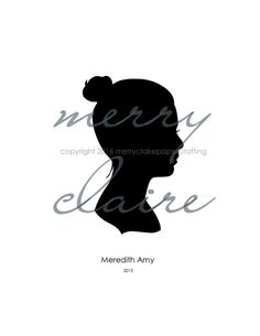 Hand cut silhouette, custom art made from a photograph.  Great Christmas gift for Grandma!