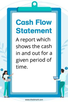 Cash Flow Statement: A Report Which Shows the Cash in and Out for a given period of Time. Accounting Notes, Learn Accounting, Accounting Basics, Accounting Principles, Bookkeeping And Accounting, Bookkeeping Business, Small Business Accounting, Financial Accounting, Accounting And Finance