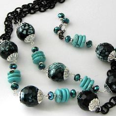 Long Necklace, Turquoise Magnesite, Turquoise and Black Agate Gemstones, Black Chain, Beaded Jewelry, ON SALE Was 85 now 55