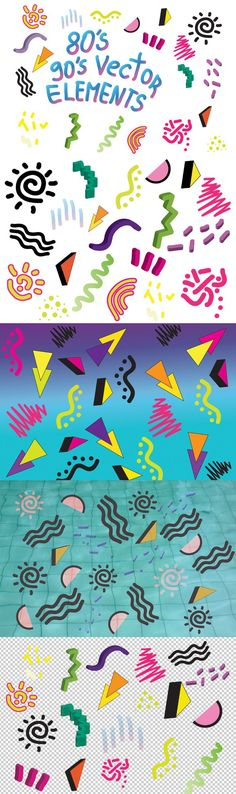 90's 80's Geometric Vector shapes. Photoshop Shapes. $7.00