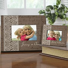 OMG I love the beautiful lace and burlap design on this personalized frame - it's gorgeous! This would be so pretty as a mother's day gift or just for around your home ... love it! #Lace #Burlap #Frame #MothersDay