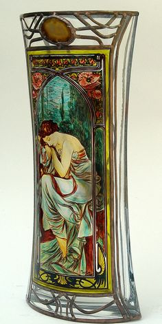 """15"""" x 7.5"""" (381 mm x 191 mm) Massive, glass, bright, hand-painted decorative vase, product of Czech glass factories. Precise copy of Mucha's artwork."""