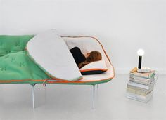 What if the Teardrop uses this idea and has the bed fold to couch on side instead of head or foot?  Camp Daybed Sleeping Bag Couch