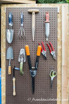 Use pegboard for storing hand tools | Easy and Inexpensive Ways to Organize Garden Tools