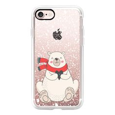 Polar Bear Heart and Winter Snow Holiday Illustration - iPhone 7 Case,... found on Polyvore featuring accessories, tech accessories, iphone case, apple iphone case, iphone cases and iphone cover case