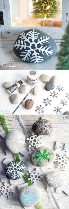 Painted Rock Snowflakes: an easy winter craft anyone can do - DIY Crafts Winter Crafts For Kids, Crafts For Kids To Make, Crafts For Girls, Kids Crafts, Easy Paper Crafts, Diy And Crafts Sewing, Paper Crafting, Fabric Crafts, Snowflake Craft
