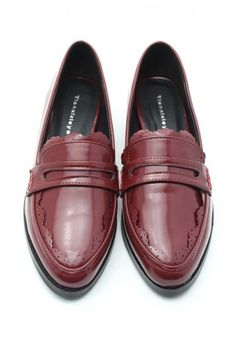 f50617f7006b Lace Tirm Retro Loafer Shoes in Red  Chicwish Old Brown Shoe