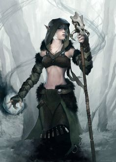 Druid by ClintCearley female wild wood elf staff magic | NOT OUR ART - Please click artwork for source | WRITING INSPIRATION for Dungeons and Dragons DND Pathfinder PFRPG Warhammer 40k Star Wars Shadowrun Call of Cthulhu and other d20 roleplaying fantasy science fiction scifi horror location equipment monster character game design | Create your own RPG Books w/ www.rpgbard.com