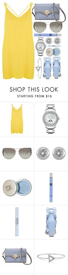 """Sunrise"" by jomashop ❤ liked on Polyvore featuring Topshop, Blancpain, Michael Kors, Thierry Mugler, Elemis, Valentino, Versace 19•69, yellow and Blue"
