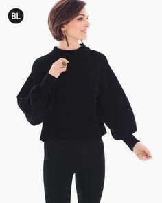 3d027b84 Chico's Women's Black Label Rib-Trim Sweater, Black, Size: 3 (16