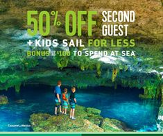 Explore the Jade Cavern cenote in Cozumel. Swim with stingrays in Antigua. And bring the whole crew along, because right now you'll save 50% off your second guest and 25% off third and fourth guests. You'll also score up to $150 to spend at sea on holiday sailings, plus an Early Booking Bonus up to $100 to spend at sea when you book at least six months prior to sailing. Travel 2017, Best Travel Deals, Cozumel, Royal Caribbean, Stingrays, Sailing, Cruise, Mexico, Sea