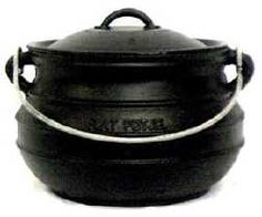 """Flat Bottom Cauldron with lid and carrying handle. Pre-seasoned with flax-seed oil. Use for cooking whole chickens to meat roasts, to clam bakes or fish fries. Holds 10 quarts. Height: 7.0"""" - Width: 12.5"""" - Weight: 25 lbs. $100"""