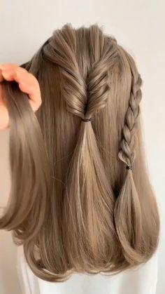 Hairdo For Long Hair, Easy Hairstyles For Long Hair, Simple Long Hair Updo, Hairstyle For Kids, Hairstyle Ideas, Little Girl Wedding Hairstyles, Easy Wedding Hairstyles, Easy Braided Hairstyles, Braids For Medium Length Hair