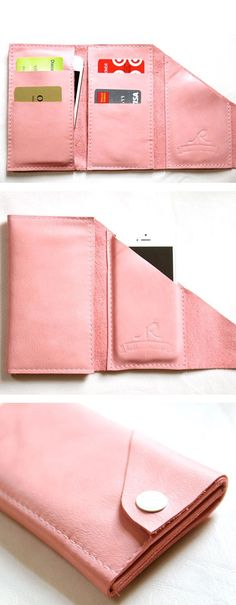 The Mini Wrap iPhone Wallet // pink leather - Handytasche Wrap Wallet, Diy Wallet, Iphone Wallet, Iphone Case, Pink Leather, Leather Bag, Leather Folder, Leather Wallets, Diy Coque