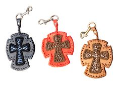 Pearls and sequins hand embroidered leather Cross Key holder by Pascale Théard