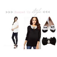 Bumped Up Style {tuxedo dressing} on COUTUREcolorado baby style blog | outfit ideas + clothing inspiration for nine months of chic maternity wardrobe inspiration for pregnant moms-to-be with style | featuring Hatch maternity tuxedo leggings, black ASOS maternity sweater with crochet collar, black + white flat tuxedo slipper shoes, azzaro black bow tie bracelet | Expecting a little man? What about throwing your gender reveal party wearing a cheeky wink to a tuxedo?