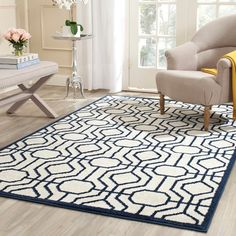 Safavieh Amherst Ivory/ Navy Rug (9' x 12') - Overstock™ Shopping - Great Deals on Safavieh 7x9 - 10x14 Rugs