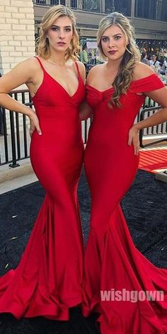 f2ea5dcf616 Red Mermaid Mismatched Wedding Bridesmaids Long Prom Dresses