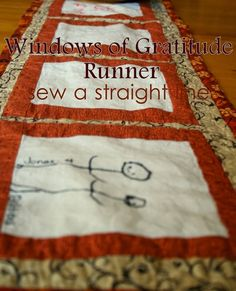 """Table decoration, gratitude journal, fun activity and keepsake all in one, this unique table runner has """"windows"""" for your kids or guests to record what they're grateful for this season. Get the tutorial"""