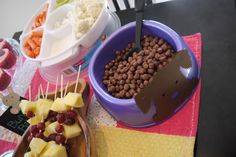 """""""Dog Food"""" is cocoa puffs -- cute for a Littlest Pet Shop birthday party"""
