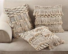 Moroccan Wedding Blanket Style Design Fringe Cotton Down Filled Throw Pillow - www.fenncostyles.com