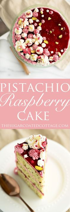 Pistachio Raspberry Cake Recipe. Deliciously nutty layers of cake enrobed in a beautiful raspberry swiss meringue buttercream. Looking for a unique cake for that special occasion then this is it!   thesugarcoatedcottage.com #cake #recipe #pistachiocake #buttercream #raspberry