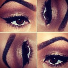 Warm brown and gold smokey eye with liquid liner