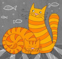 Art by Natalia Illarionova. #art #cats #cute