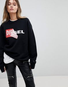 Find the best selection of Diesel Embroidered Logo Sweatshirt. Shop today with free delivery and returns (Ts&Cs apply) with ASOS! Black Hoodie Outfit, Sweatshirt Outfit, Crew Neck Sweatshirt, Logan, Asos, Half Zip Pullover, Casual Sweaters, Workout Tops, Grilling