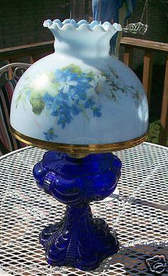 Antique Vtg Cobalt Blue Draped Oil Lamp Eagle Burner GWTW Student Fenton Shade | eBay