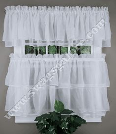 Gypsy Tier and Valance Curtains - White - Lorraine - Country Kitchen Curtains