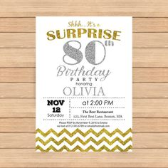 80th birthday invitation Woman bday Man bday Silver by CoolStudio