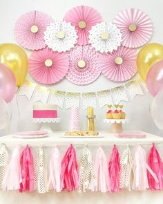 Celebrate baby shower, birthday or any event with this chic Pink and Gold Party - Baby Girl Shower Themes, Girl Baby Shower Decorations, Baby Boy Shower, Gold Party Decorations, Birthday Party Decorations, Party Favors, Baby Party, Party Kit, Baptism Party
