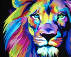 Hot Price Pop Art HD Print Colorful Lion Animals Abstract Oil Painting on Canvas Modern Wall Art Picture for Kid Room Poster Cudros Decor .more information please click the link Arte Pop, Rainbow Lion, Tableau Pop Art, Lion Painting, Lion Art, Art Plastique, Modern Wall Art, Painting Inspiration, Art Projects