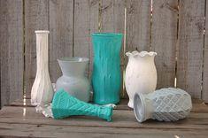 Shabby Chic Vases Tiffany Blue Grey Aqua by TheVintageArtistry, $49.00