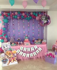 Paw patrol party for girls - Trend Today : Your source for the latest trends, exclusives & Inspirations Girl Paw Patrol Party, Paw Patrol Birthday Girl, Paw Patrol Balloons, 3rd Birthday Party For Girls, Birthday Ideas, Paw Patrol Birthday Decorations, Etsy, Party Ideas, Paw Patrol Invitations