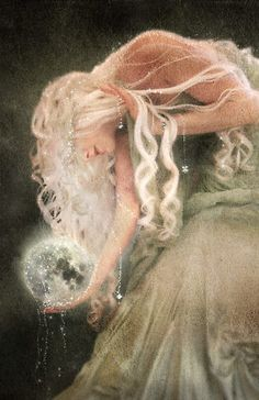 Its the moon goddess she holds the moon in place and fills it in with white when shes happy and black when upset